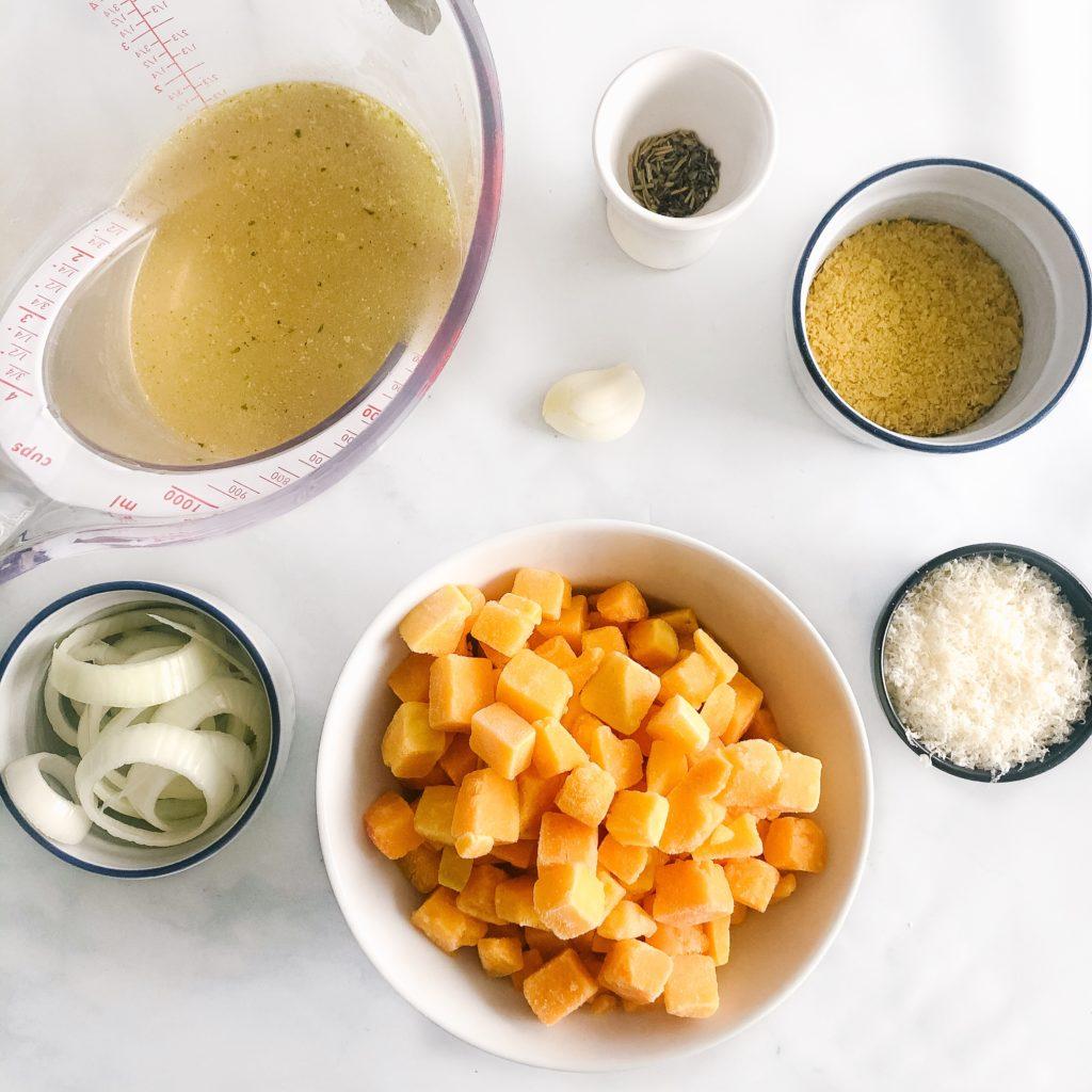 Creamy vegan butternut squash pasta ingredients