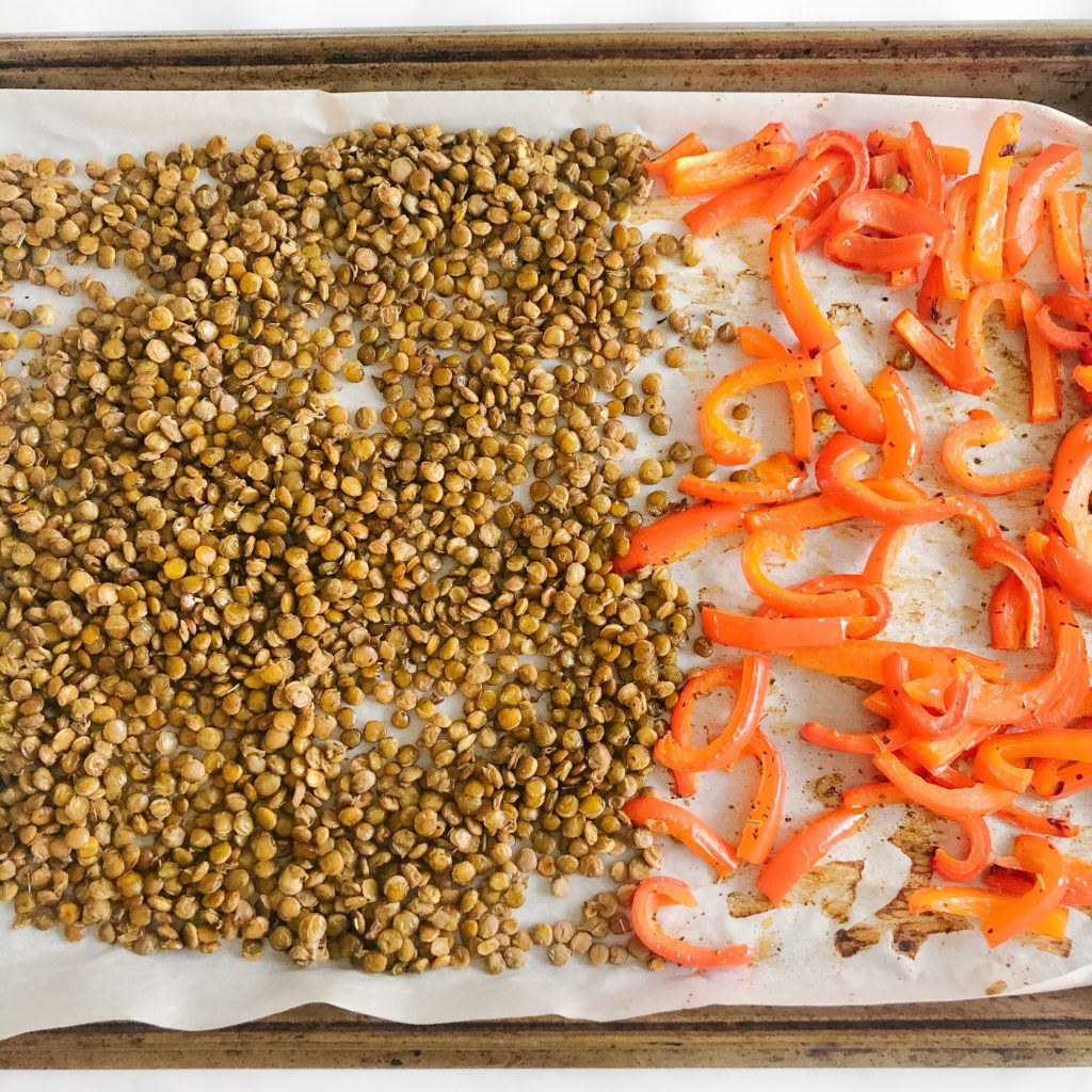 roasted lentils and peppers on a sheet pan