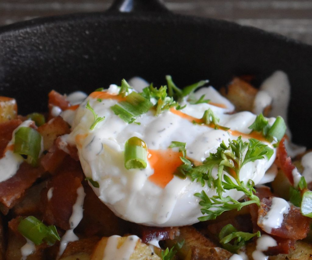 ways to use leftover roasted vegetables - breakfast skillet with potatoes and egg