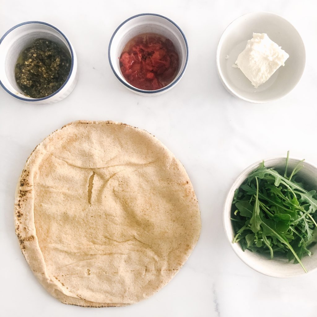 Pesto and Goat Cheese Pita Pizza Ingredients
