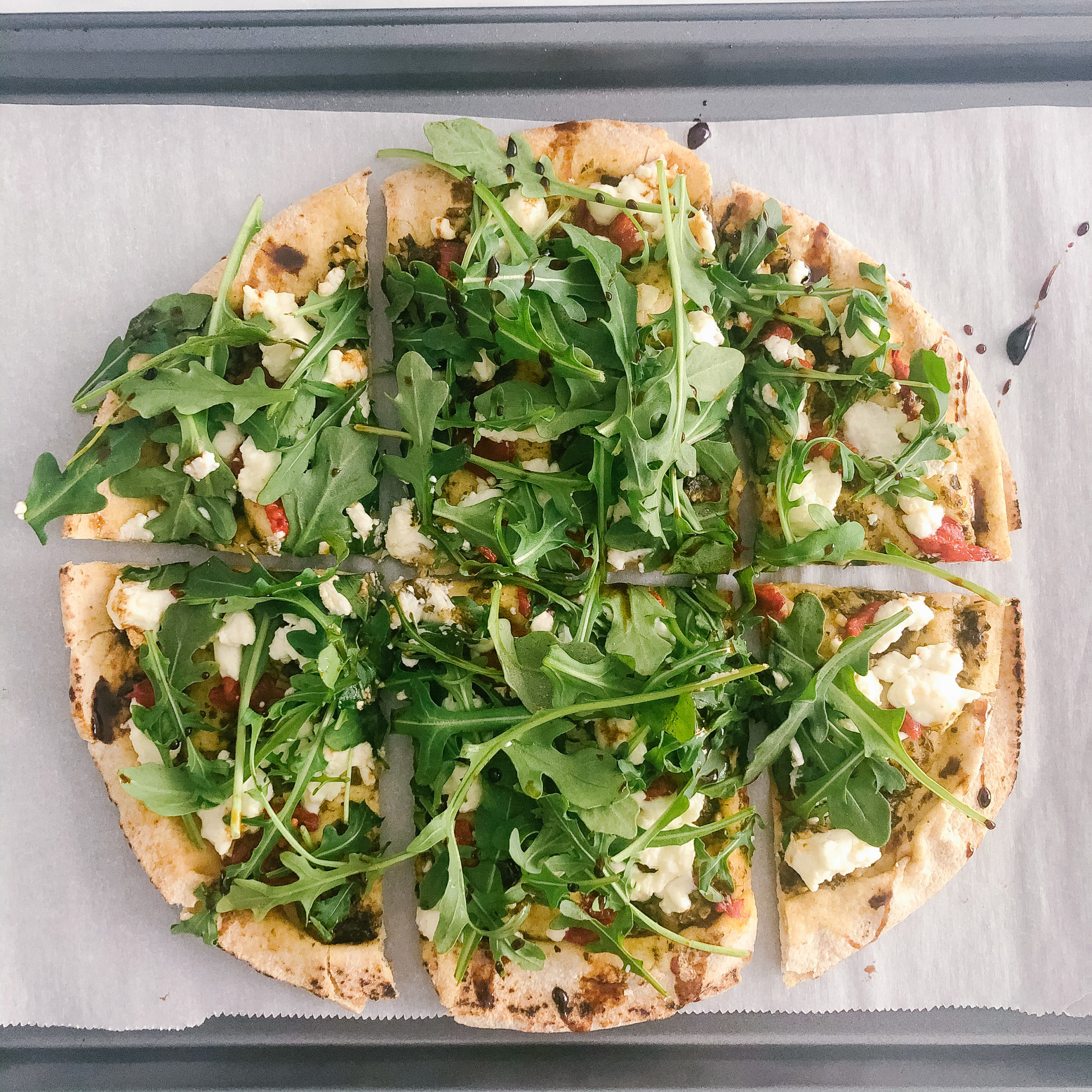 Quick and Healthy Pesto and Goat Cheese Pita Pizza (no prep required)