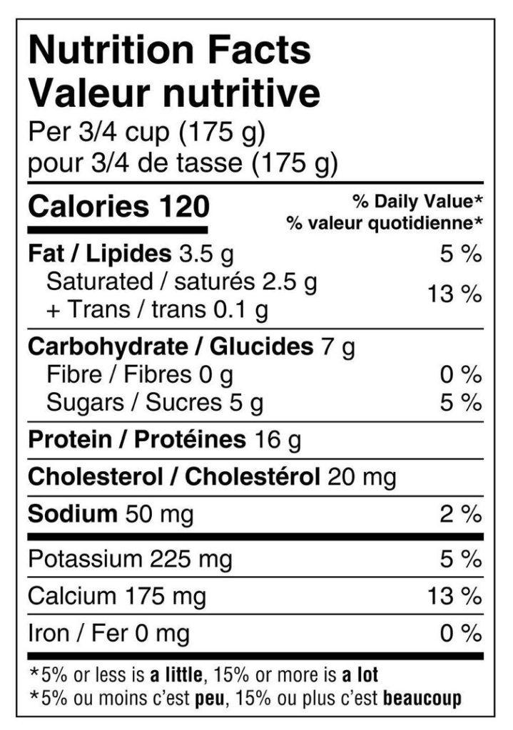 plain 2% Greek yogurt nutrition label