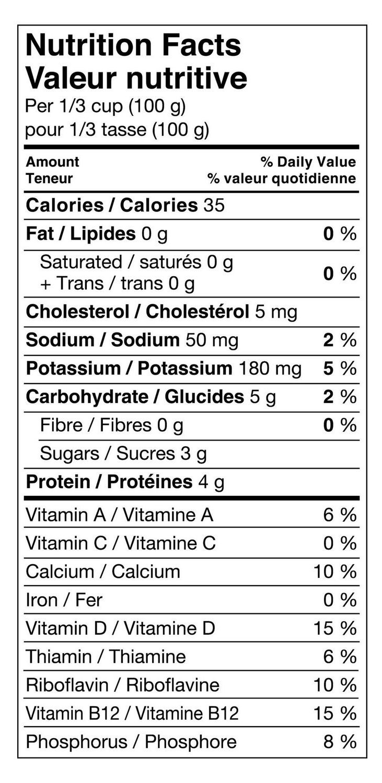 stevia sweetened yogurt nutrition label