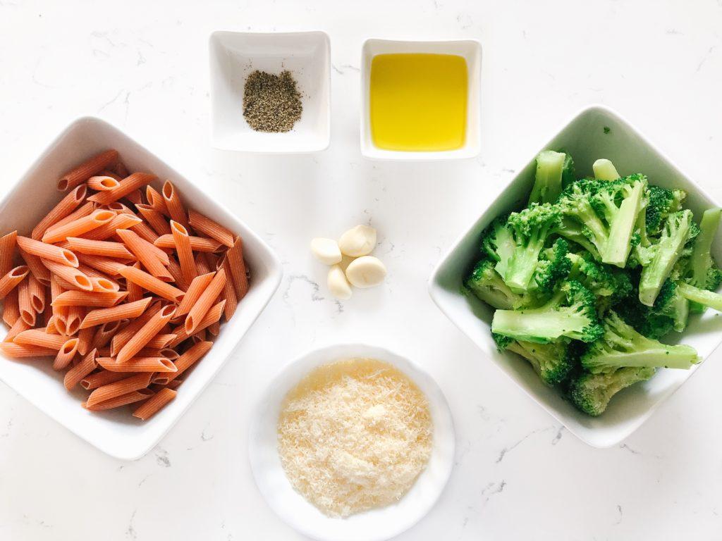 pasta, broccoli, garlic, parmesan cheese, oil, seasoning
