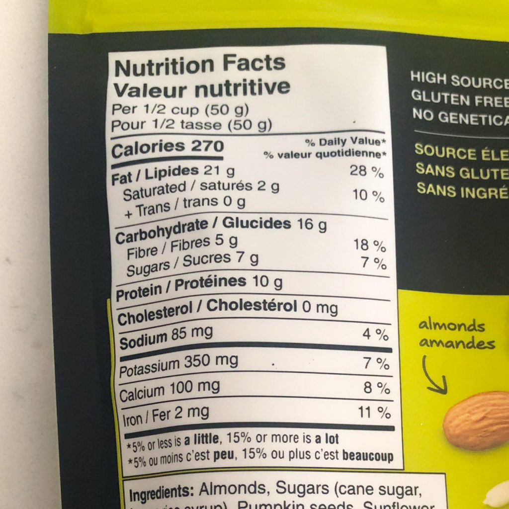 KIND clusters nutrition facts table
