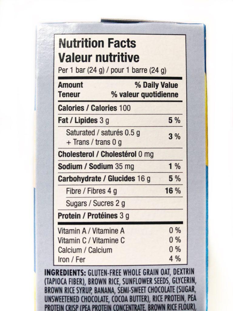 healthy crunch school approved granola bars - ingredient list
