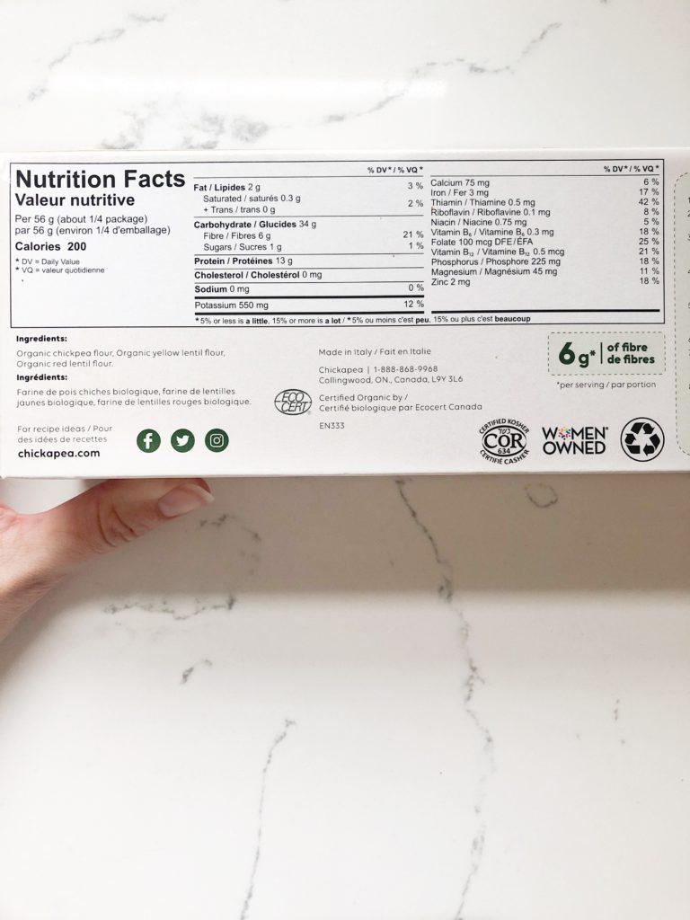 chickapea lasagne noodle nutrition facts