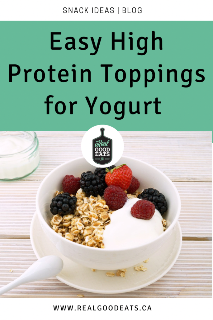 easy high protein yogurt toppings blog graphic