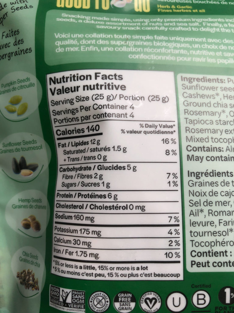 good to go nut and seed bites nutrition label