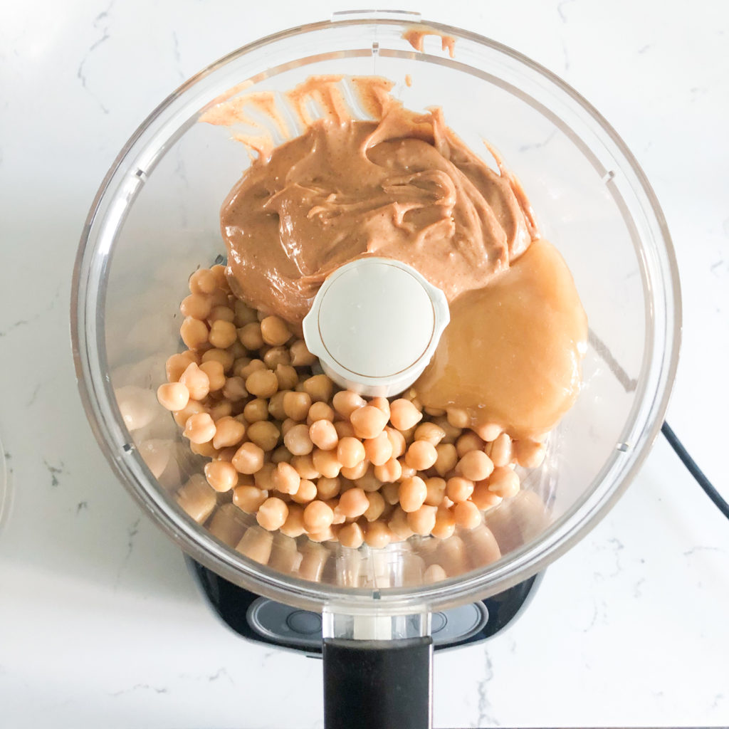chickpeas, peanut butter, honey in a food processor
